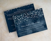 Wedding invitations, navy blue watercolor, starry night, twinkling stars, silver stars, gray stars, navy and gray wedding invitation, Stars