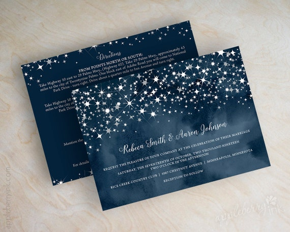 Wedding Invitations Navy Blue Watercolor Starry Night