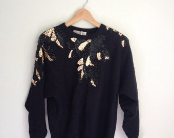 80s Gold Sweater, Black and Gold Beaded Sweater, 80s Shirt, Baggy Sweater, Sequined Beaded Sweater, Gold Applique, Small Medium Oversize
