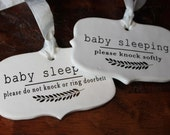 ceramic sign - baby sleeping . choice of message and ribbon color