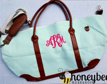 seersucker weekender tote holiday weekend bag! travel, bridesmaid or bride gift personalized, monogrammed monogram bridal shower.