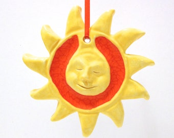 Yellow and Orange Sun Ornament, Hand-built Sun Sculpture, Ceramics and Recycled Orange Glass