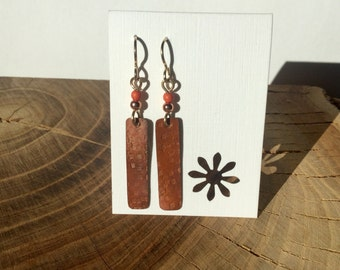 Repurposed roofing copper earrings