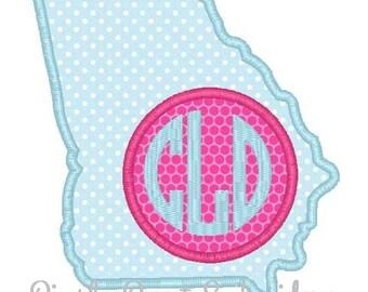 State of Georgia Monogram Machine Embroidery Applique Design
