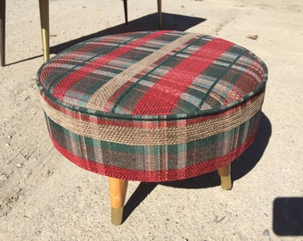 Mid century modern foot stool 16d x 10h Shipping is NOT FREE