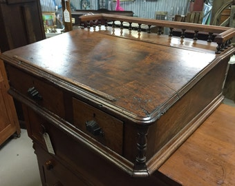 Antique Counter Top Writing Desk Cash Drawer. Solid nice piece. 32w26d13h Shipping is Not free