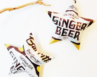 Barritt's Bermuda Stone Ginger Beer Stars Christmas Ornaments  Soda Can Upcycled, Brown White