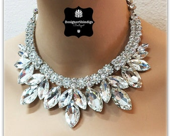 Chunky Rhinestone Statement Bridal Bib Necklace and Earrings Set Marque