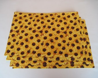 Yellow Sunflower Placemats Reversible set of 4-6 Bright Yellow Placemats Summer Placemats Fall Sunflower Placemats Sunflower Table Decor