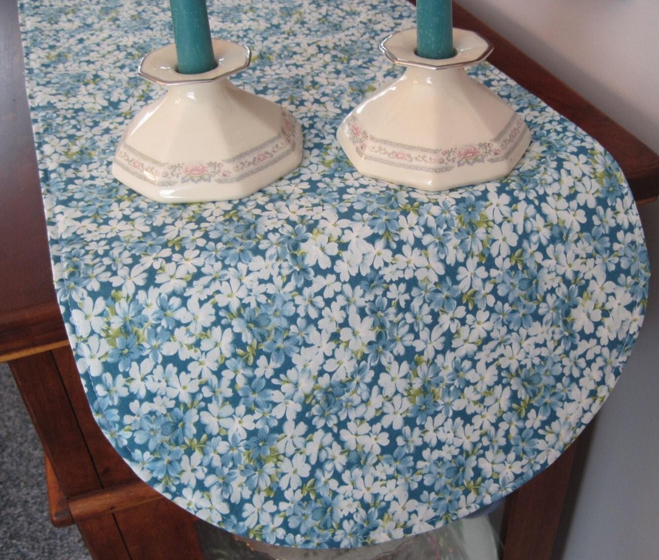 blue floral table runner 36 inch reversible blue table runner. Black Bedroom Furniture Sets. Home Design Ideas