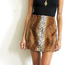 Furry Leopard Skirt / Faux Fur Leopard Skirt / Animal Print Mini Skirt Sz S