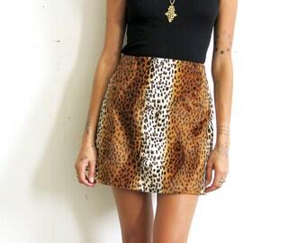 Furry Leopard Skirt / Faux Fur Leopard Skirt / Animal Print Mini Skirt Sz S