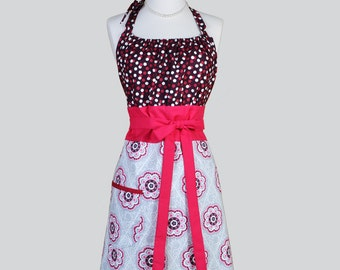 Cute Kitsch Retro Apron . Full Vintage Womens Apron Burgundy Medallions on Gray and Polka Dots Kitchen Apron Cute Apron Chef Apron