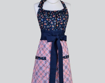 Cute Kitsch Retro Apron /  Retro Floral Bodice in Navy Multi Colored Flowers and Coordinating Bias plaid in a Handmade Cute Womens Apron