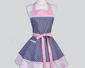 Ruffled Retro Apron - Woman Apron Pink and Gray Polka Dot Cute Full Kitchen Ruffled Apron Personalize or Monogram