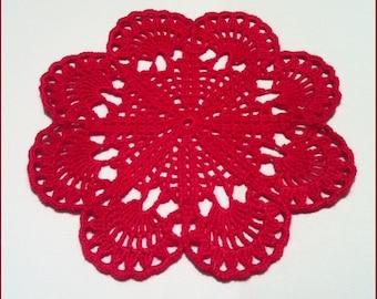 D-51. Crochet  Doily / 25 cm / Сrimson Doily / Crochet Lace Doily / Round Doily / christmas doily / hand crocheted lace / crochet doilies