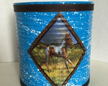 HORSES LARGE CAN Holder/Trash Can/Brushes/Utensils/Toys/Gifts/Money/Candy
