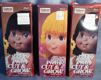 Vintage Cut & Grow Doll Hair Wigs in Gabriel Boxes Blond