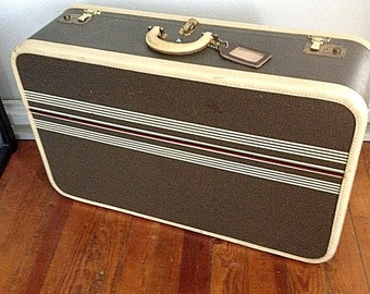 Vintage Antique Winship Striped Tweed Suitcase Luggage Monogrammed Lg w Keys