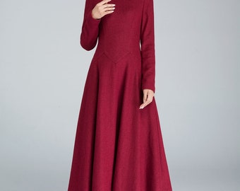 wine red dress, maxi dress, wool dress, fall dress, party dress, evening dress, prom dress, ladies dresses, fitted dress    1618