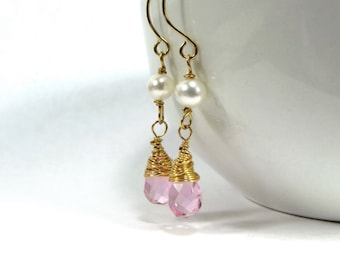 Pink Bridesmaids Earrings ~ AdoniaJewelry