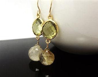 Rutilated Quartz Lemon Topaz Dangle Earrings, Gold Earrings, ccsdesigns01