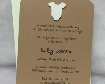 Chevron Onesie Baby Shower Invitations, Birth Announcement , Onesie  Invitations, Onsie Baby Shower Invitation