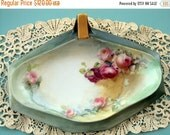 VALENTINES SALE Exquisite Tressemann and Vogt Limoges France 1905 Handpainted Large Nappy or BonBon tray