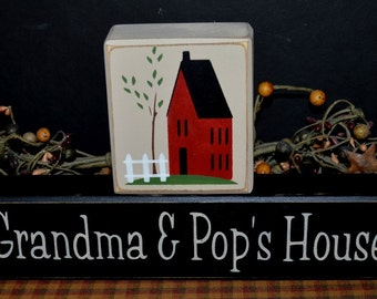 Grandma and Pop's House custom personalized primitive wood blocks sign