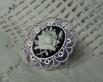 ROSE CAMEO RING, Vintage Style Black & White Rose, Silver Plated Filigree Statement Ring, Rose Jewelry, Heirloom Rose, Noir, adjustable ring
