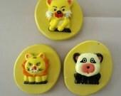 Set of 3 Panda Bear Lion Tiger Cat  Designs Food Grade Silicone Molds 3-D