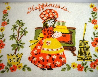 Happiness is...Kitchen Tea Towel by Cannon, Orange, Avocado Green and Yellow