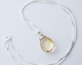 Citrine Gemstone Sterling Silver Necklace EE Designs