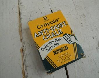 1970s Crayola Anti-Dust Chalk Set of 12 White Binney & Smith New