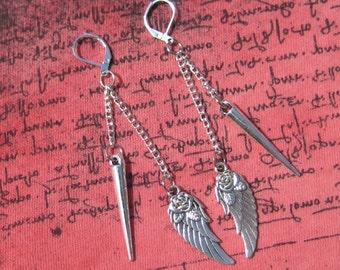 Spike Earrings, Silver Spike Earrings, Spikes, Spike Jewelry, Spike Chain Earrings, Wing Earrings, Wing Charm Earrings, Wings, Wing Jewelry