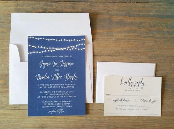 twinkle lights Wedding Invitations, vintage wedding invitations, simple wedding invitations, modern wedding invitations, wedding stationery