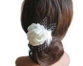 Bridal, Flower Fascinator,Wedding Headpiece,WEdding Hair Piece, Hair Clip, Flower Comb, Feathers, Russian Birdcage Netting, Beach Wedding