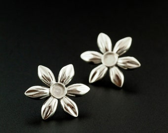 1 pair of Sterling Silver Flower Earring Posts with 4mm Cabochon Mounting