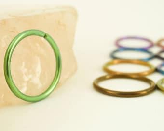 1 Hoop - Super Simple - Colorful Niobium Hypoallergenic Earring Hoop - 16 gauge 12mm ID - You Pick Color