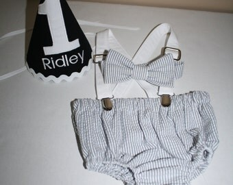 first birthday outfit baby boy cake smash outfit gray white stripe seersucker white suspenders 1st birthday hat diaper cover bow tie