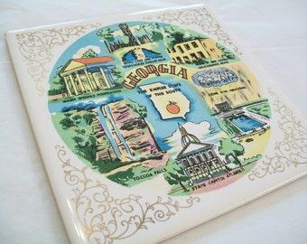 SALE - Georgia Trivet, ceramic trivet, souvenir, 1970s