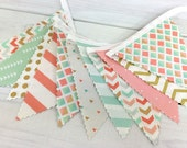 Bunting Banner, Girl Nursery Decor, Birthday Decoration - Coral Pink,Blush Pink,Mint Green,Gold,Aztec Nursery,Tribal Nursery,Arrow