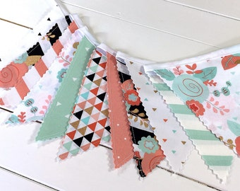 Bunting Banner, Girl Nursery Decor, Birthday Decoration, Nursery Decor - Coral Pink,Blush Pink,Mint Green,Gold,Aztec Nursery,Flowers,Floral