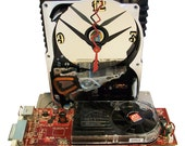 Hard Drive Clock with a Full Red Graphics Circuit Board & Fan as the Base. Amazing Clock. FREE SHIPPING USA!