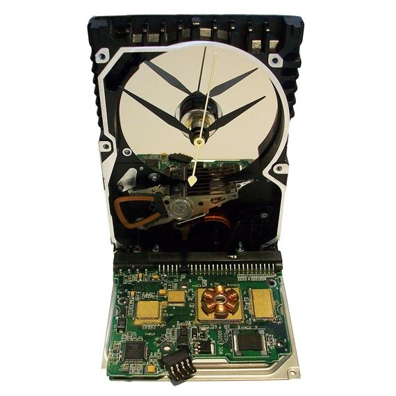 Circuit Board Alarm Clock From Recycled Computer Hard Drive Controller