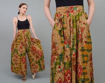 Vintage 90s Ethnic Abstract Print Print Cropped Gauchos High Waist Boho Wide Leg Palazzo Pants Medium M