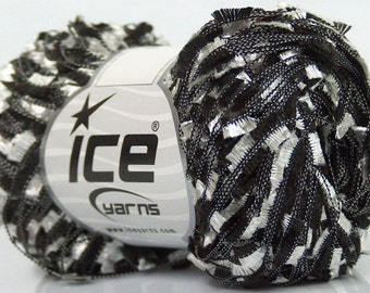 Black & White Butterfly Ribbon Yarn 50 gram 164 yards - Ice 43145 - Great for Fiber Necklaces, Scarves and Shawls!