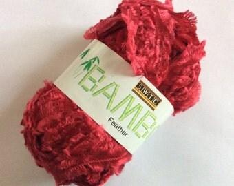 SWTC Bamboo Feather #239 Red Short Eyelash Fringe Boa Eco-friendly Yarn 88% Bamboo 50 gram 110 yards