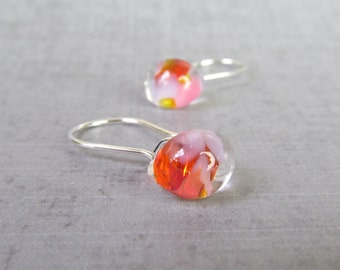 Mottled Coral Small Earrings, Small Dangles, Silver Wire Earrings, Orange Pink Glass Drop Earrings, Lampwork Earrings, Sterling Silver