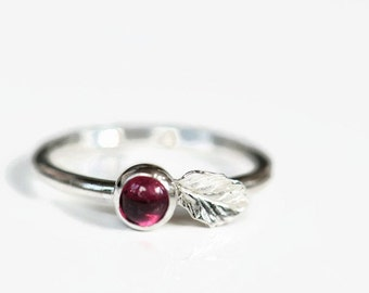 Tourmaline ring sterling silver, pink gemstone ring with silver leaf, size 7.0. Stack ring.